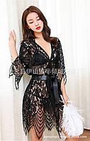 Кружевной халат с кружевным бельем, фото 1