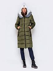 Длинная женская зимняя куртка с молнией по всей длине синия размер 42 44 46 48 50, фото 2