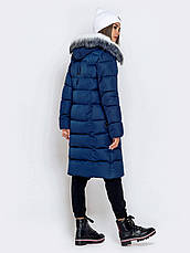 Длинная женская зимняя куртка с молнией по всей длине синия размер 42 44 46 48 50, фото 3