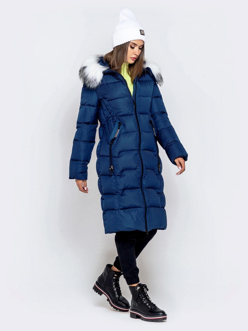 Длинная женская зимняя куртка с молнией по всей длине синия размер 42 44 46 48 50