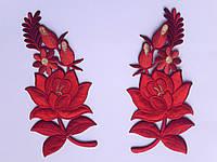 """Аплікація вишивка клейова  """"Квіти"""" ченрвоні 18 см  1пара"""