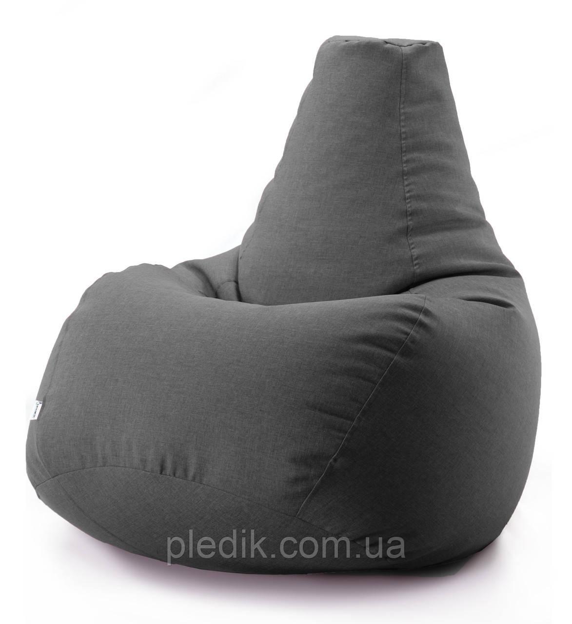 Кресло мешок груша микро-рогожка 100*140 см Темно серый