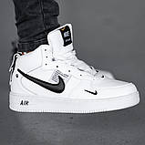 Мужские зимние кроссовки в стиле Nike Air Force 1 Off-White (full white), зимние Найк Аир Форс (Реплика ААА), фото 2