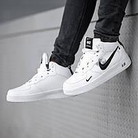 Мужские зимние кроссовки в стиле Nike Air Force 1 Off-White (full white), зимние Найк Аир Форс (Реплика ААА)