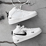 Мужские зимние кроссовки в стиле Nike Air Force 1 Off-White (full white), зимние Найк Аир Форс (Реплика ААА), фото 4