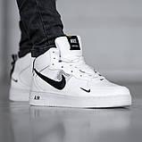 Мужские зимние кроссовки в стиле Nike Air Force 1 Off-White (full white), зимние Найк Аир Форс (Реплика ААА), фото 3
