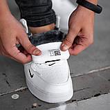 Мужские зимние кроссовки в стиле Nike Air Force 1 Off-White (full white), зимние Найк Аир Форс (Реплика ААА), фото 6