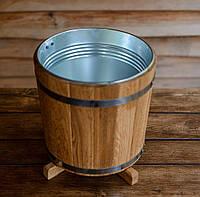 Кадка для растений 15 литров с металлической вставкой (дуб), фото 1