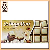 Шоколадки Schogetten, 100г, Три шоколада с фундуком