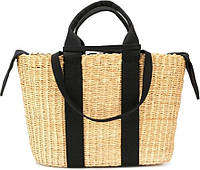 Черная плетенная сумка George в виде корзины, Чорна плетена сумка George у вигляді кошика