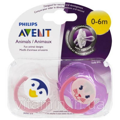 Pink Animal Designs 6-18 months Philips Avent Orthodontic Pacifier 2 pack