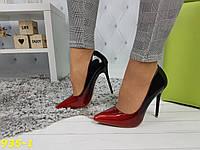 Туфли лодочки омбре черные с красным, фото 1