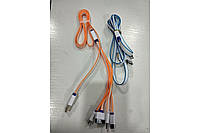 Шнур 4в1-USB U8 лапша цветная