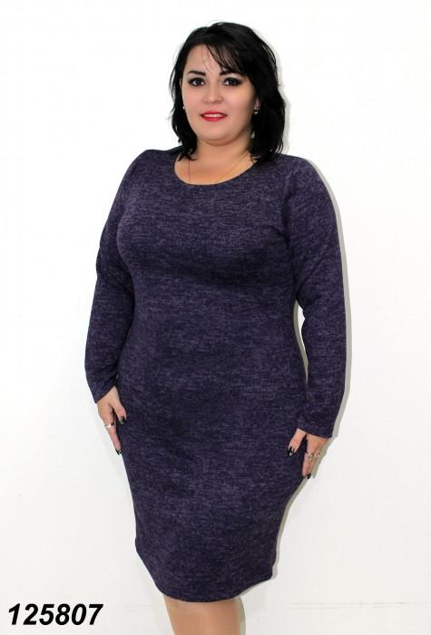 Платье ангора-меланж,фиолетовое 48,50,52,54,56