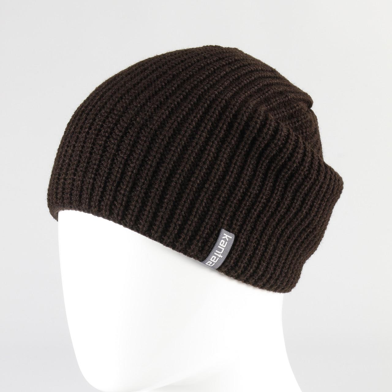 Шапка стильная вязанная KANTAA коричневый