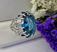 Колечко в серебре с голубым фианитом Жозефина