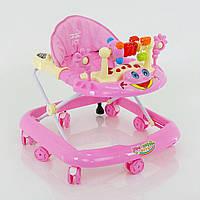 Детские ходунки музыкальные модель 528, розовые - 156103