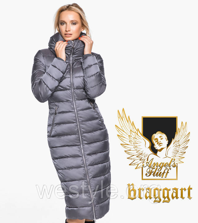 Воздуховик удлиненный зимний женский Braggart Angel's Fluff - 31074 жемчужно-серый