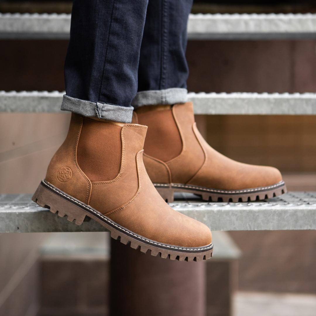 Зимние мужские ботинки высокие класика прошиты из текстильного нубука (коричневые), ТОП-реплика