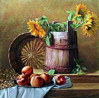 Интерьер кухни картина Натюрморт с подсолнухами в вазе