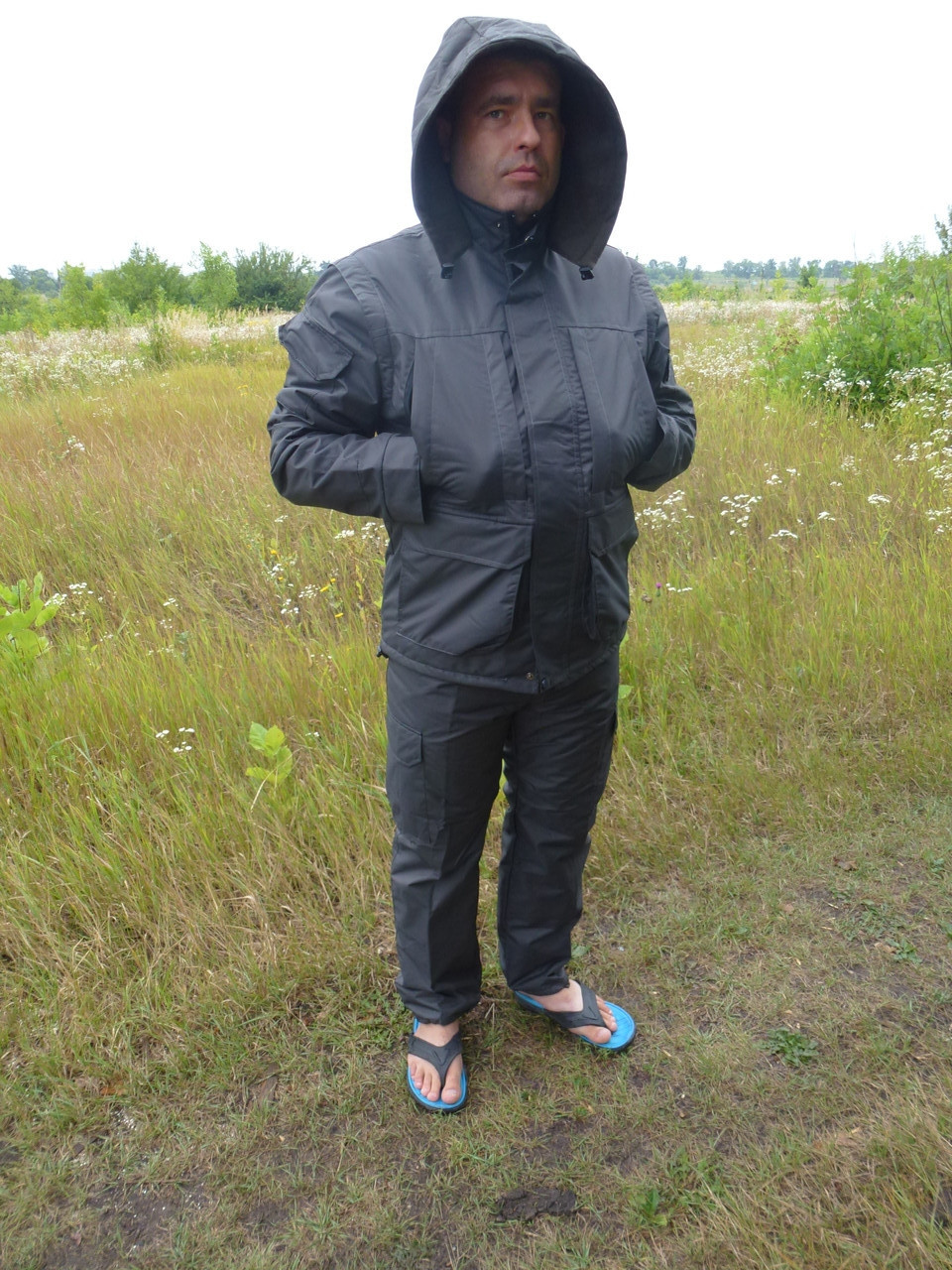 Демисезонный костюм  утепленный на флисе  Таслан серый
