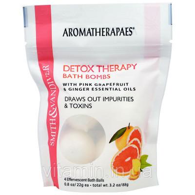 Aromatherapaes, Терапевтические очищающие бомбочки для ванны с эфирными маслами розового грейпфрута и имбиря, 4 шипучих шарика для ванны по 0,8 унции