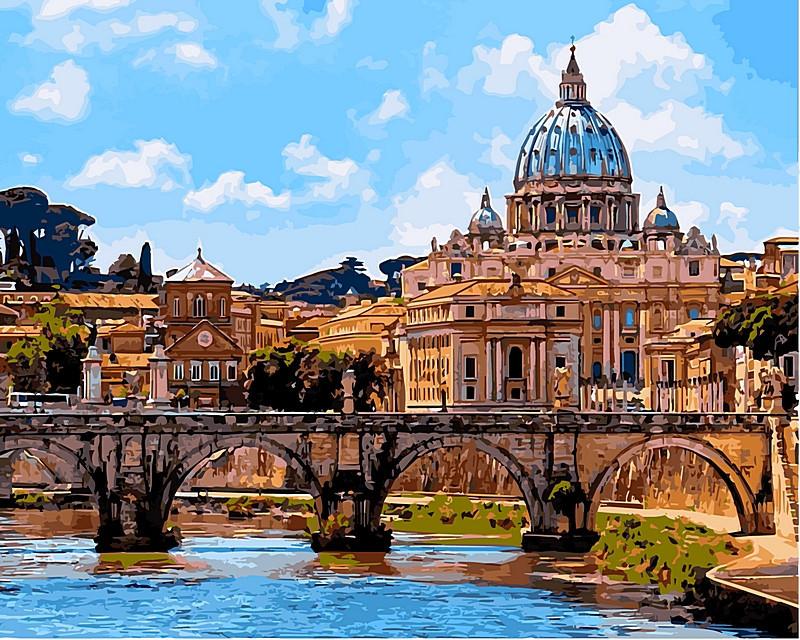 Картина по номерам 40×50 см. Babylon Мост Святого Ангела (Рим) (VP 483)