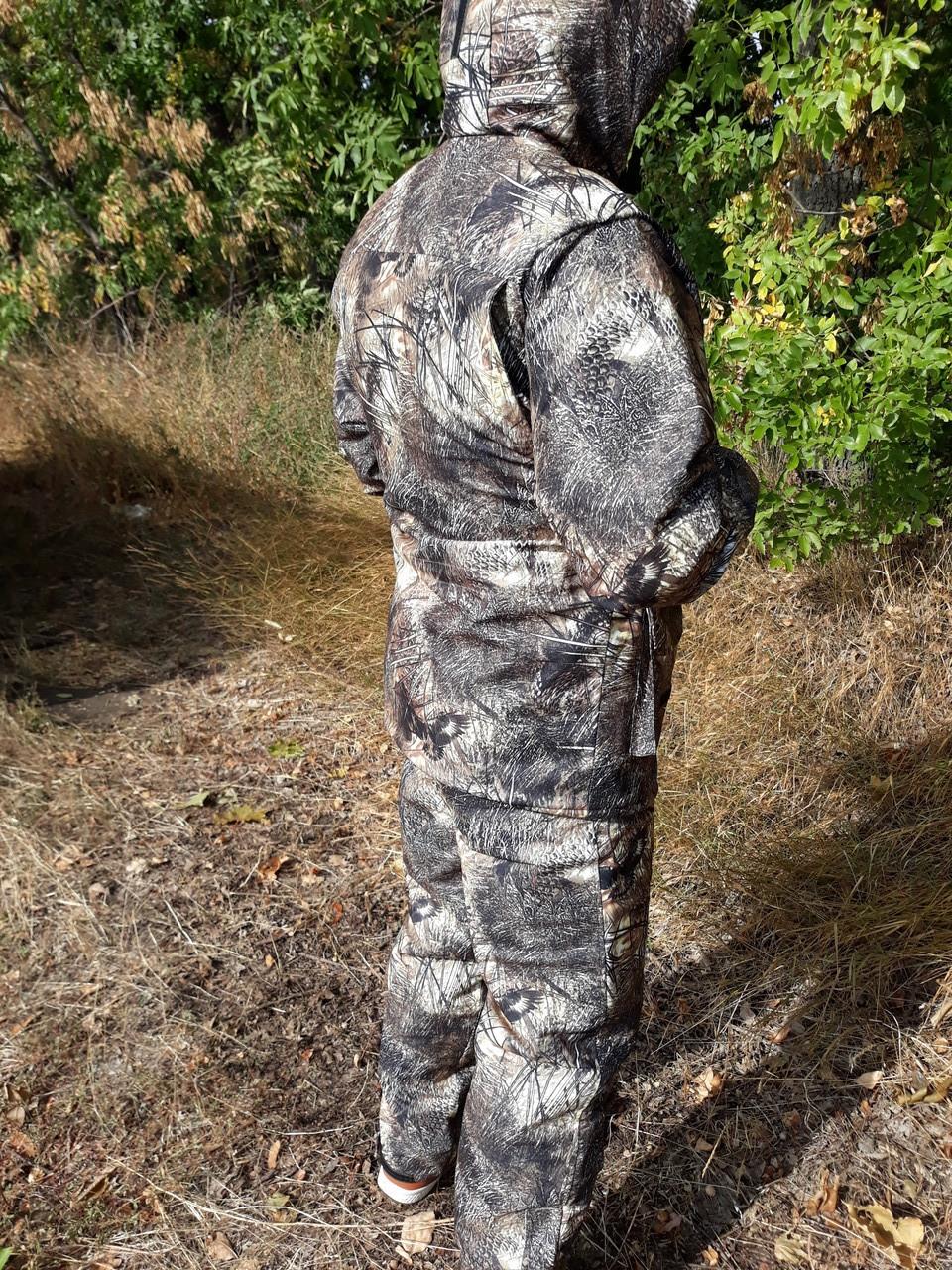 Демисезонный камуфляжный костюм для охоты и рыбалки на флисе пестрый орел