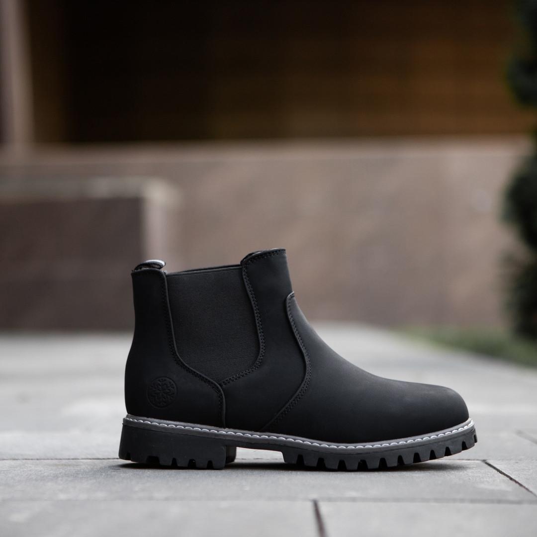 Ботинки мужские теплые на зиму высокие классические утепленные мехом (черные), ТОП-реплика