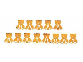 "Гирлянда ""Happy Birthday"" Мишки .Цвет: Золото. Длина 2.5,м."