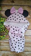 """Конверт на выписку с ушками """"Микки Маус"""", конверт-одеяло для новорожденного"""
