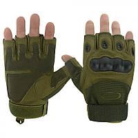 Тактические беспалые перчатки(велоперчатки, мотоперчатки) Oakley Green #S/O