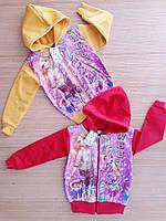 Кофта теплая на молнии с паетками для девочек 7-10 лет.Турция