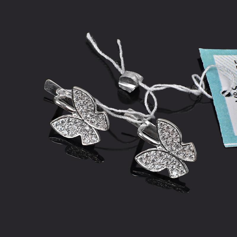 Серебряные серьги с камнями Мотылек