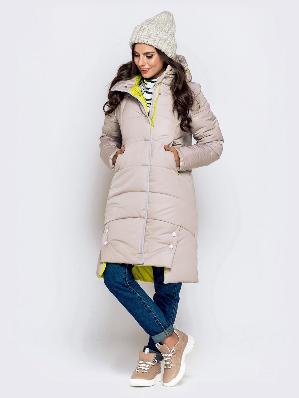 Зимняя стеганная куртка со вшитым капюшоном на кулиске жемчуг размер 44-46 48-50 52-54