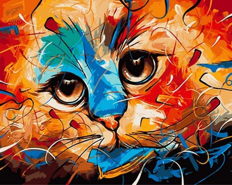 Картина за номерами 40×50 див. Babylon Кішка Художник Наушад Вахід (VP 605)