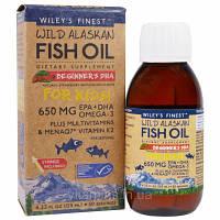 Wiley's Finest, Аляскинский рыбий жир, Детям!, ДГК для малышей, натуральный вкус клубники и арбуза, 650 мг, 4.23 жид.унции(125 мл)