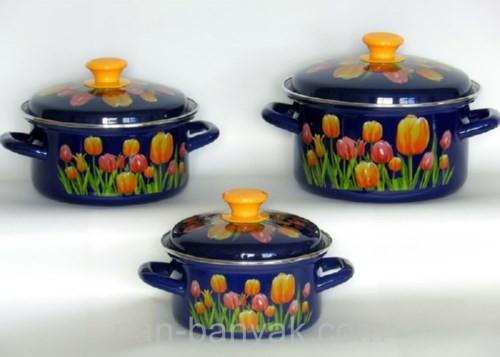 Набор посуды Керчь Цилиндрические 6 предметов емаль (Майский букет-1)