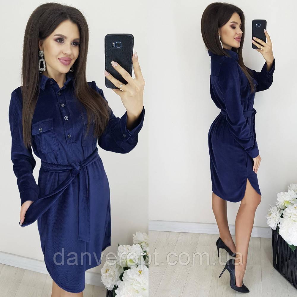 Платье-рубашка женская модная стильная с поясом размер 44-50 купить оптом со склада 7км Одесса