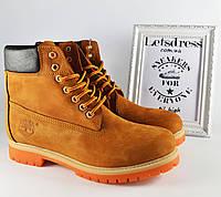 ✅ Мужские кожаные ботинки Timberland Classic  ТЕРМО 6 inch  Тимберленд  бежевые коричневые