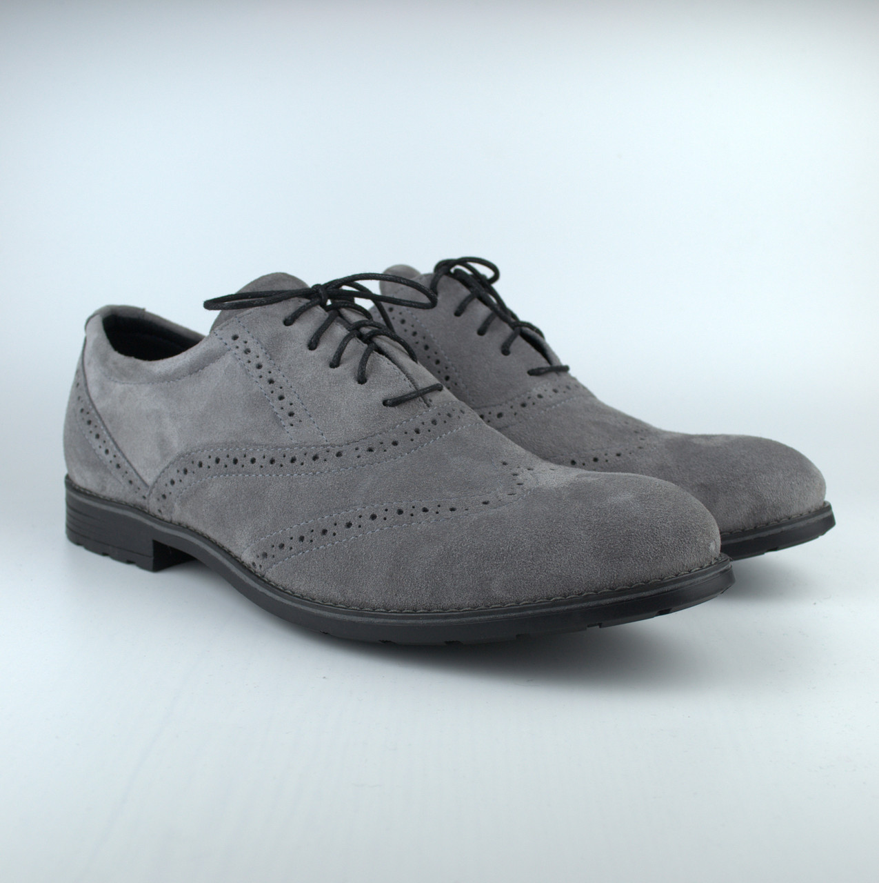 Туфлі броги оксфорди сірі чоловічі замшеві Rosso Avangard Felicete Persona Silver VeL