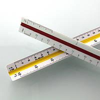 Архитектурная трехгранная масштабная линейка с дюймовой шкалой. Пластиковая