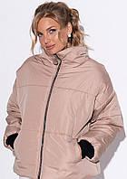 Женская дутая куртка oversize бежевого цвета. Модель 23000., фото 1