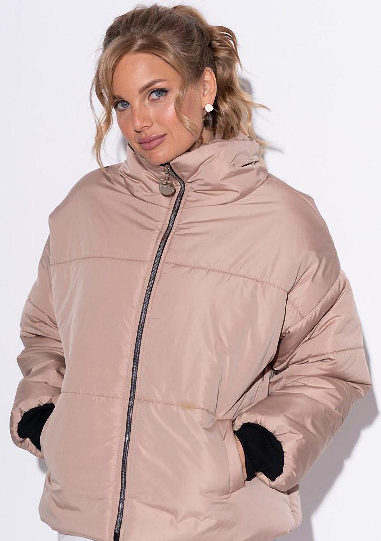 Женская дутая куртка oversize бежевого цвета. Модель 23000.