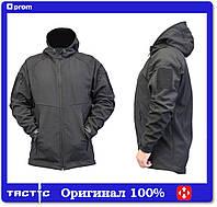 Тактическая куртка с капюшоном софтшелл softshell Black