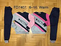 Спортивный утеплённый костюм 2 в 1 для девочек оптом, F&D, 6-16 лет,  № FD7407, фото 1