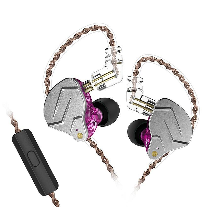 Наушники проводные KZ ZSN PRO Mic двухдрайверные гибридные Original Фиолетовый