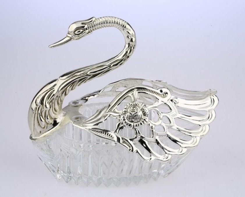 Конфетница в виде лебедя MCA Vizyon из мельхиора с посеребрением