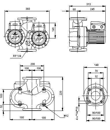 схема Grundfos  UPSD 40-120 F