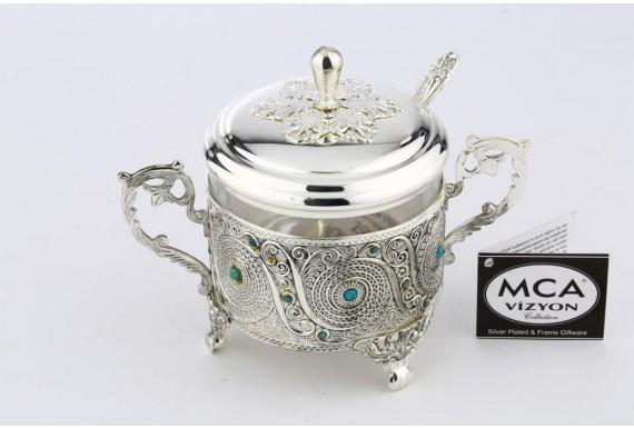 Декоративная сахарница MCA Vizyon из мельхиора с посеребрением и бирюзой